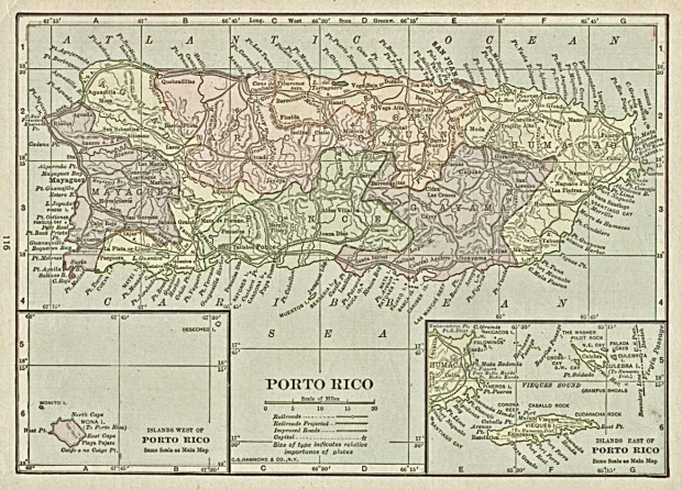 Porto (Puerto) Rico Map, 1920