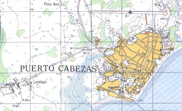Mapa de Puerto Cabezas (BILWI), RAAN, Nicaragua