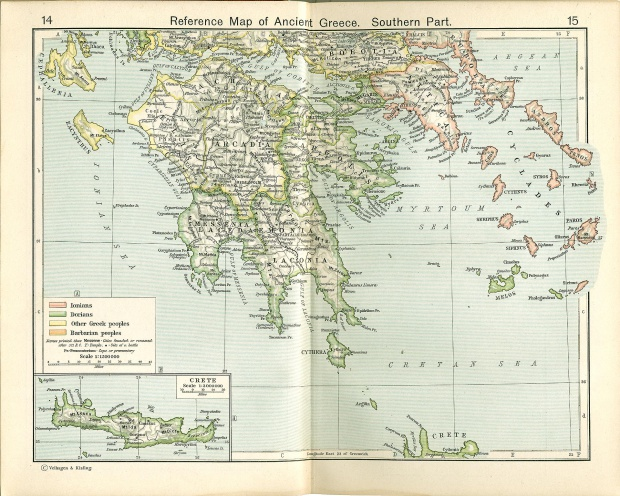 Reference Map of Ancient Greece, Southern Part