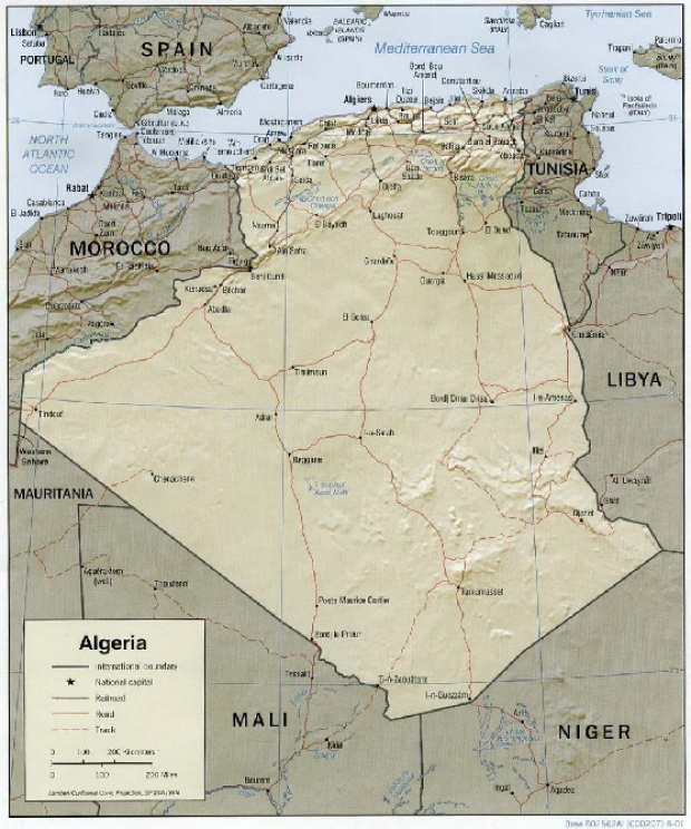 Mapa de Relieve Sombreado de Argelia