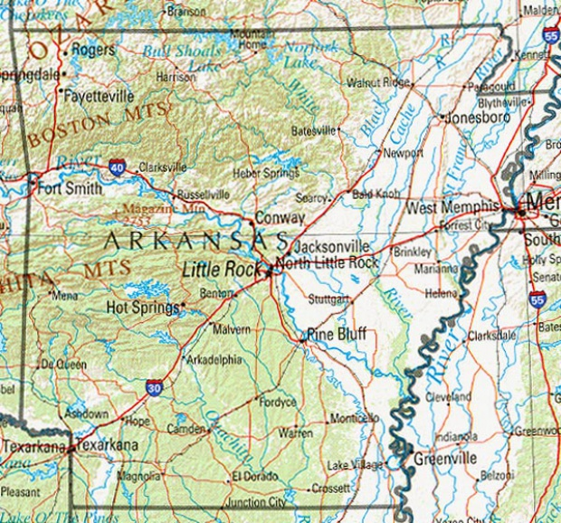 Mapa de Relieve Sombreado de Arkansas, Estados Unidos