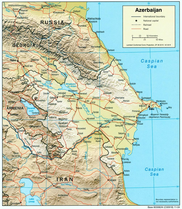 Mapa de Relieve Sombreado de Azerbaiyán