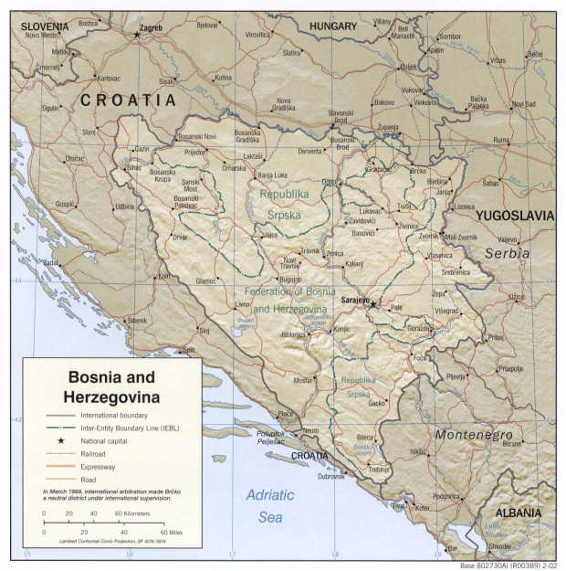 Bosnia and Herzegovina Shaded Relief Map