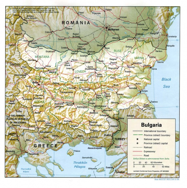 Mapa de Relieve Sombreado de Bulgaria