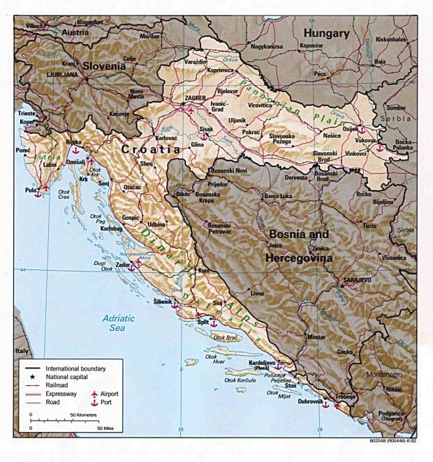 Mapa de Relieve Sombreado de Croacia