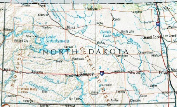 Mapa de Relieve Sombreado de Dakota del Norte, Estados Unidos