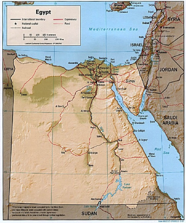 Mapa de Relieve Sombreado de Egipto