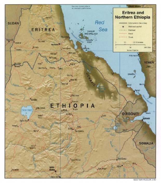 Eritrea and Northern Ethiopia Shaded Relief Map