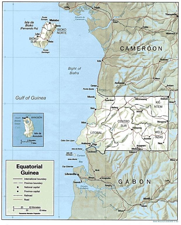 Mapa de Relieve Sombreado de Guinea Ecuatorial
