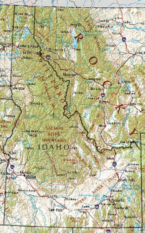 Mapa de Relieve Sombreado de Idaho, Estados Unidos