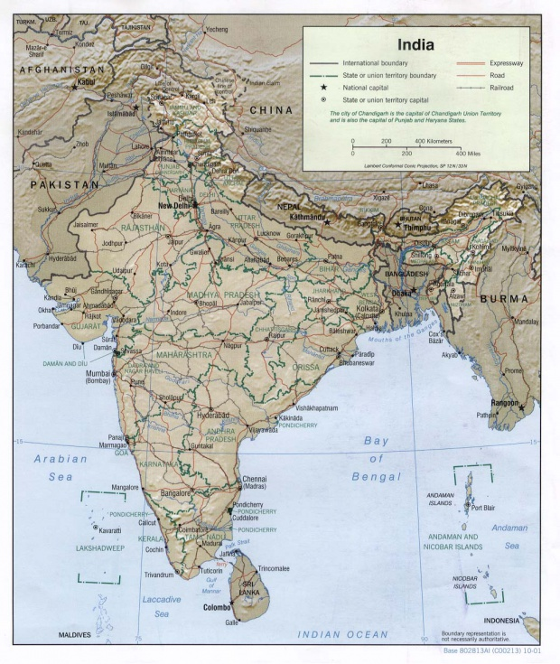Mapa de Relieve Sombreado de India