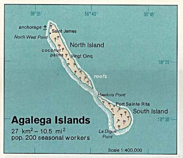 Mapa de Relieve Sombreado de Islas Agalega, Mauricio