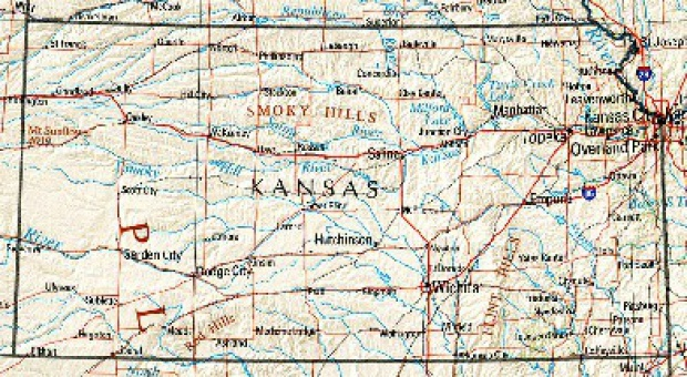 Mapa de Relieve Sombreado de Kansas, Estados Unidos