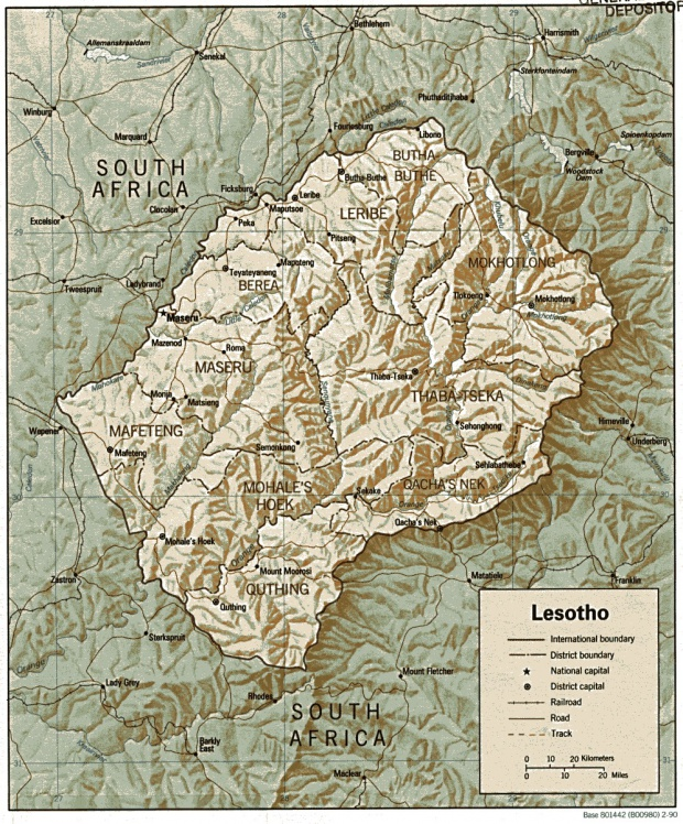 Mapa de Relieve Sombreado de Lesoto