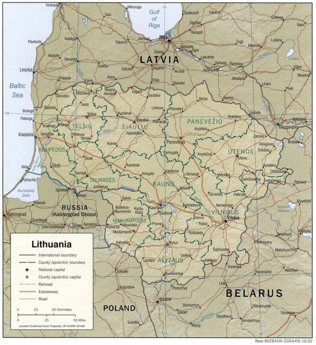 Lithuania Shaded Relief Map