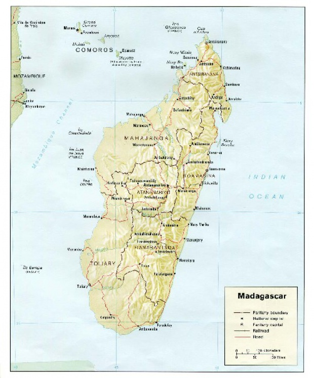 Mapa de Relieve Sombreado de Madagascar