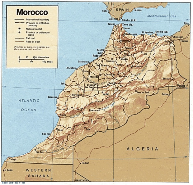 Mapa de Relieve Sombreado de Marruecos