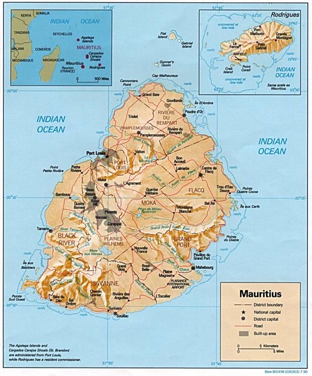 Mapa de Relieve Sombreado de Mauricio