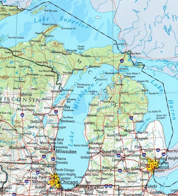 Mapa de Relieve Sombreado de Michigan, Estados Unidos
