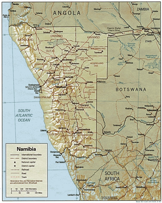Namibia Shaded Relief Map