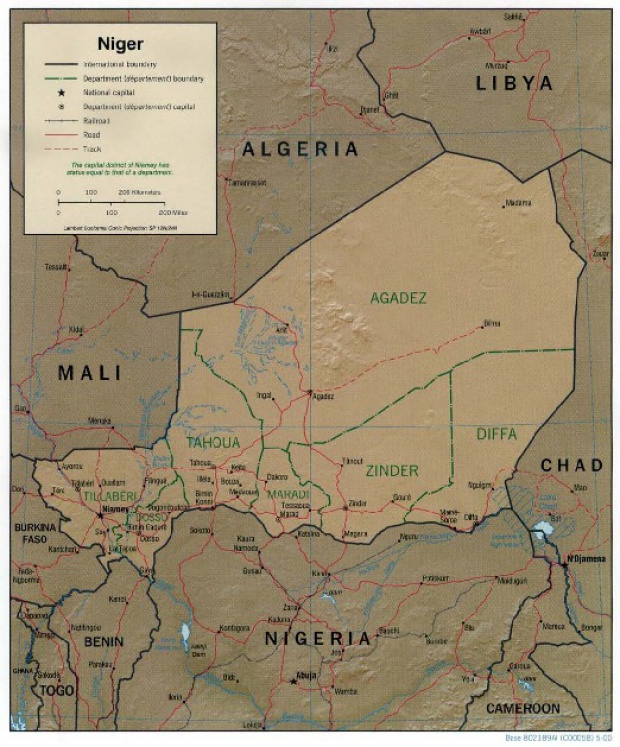 Niger Shaded Relief Map