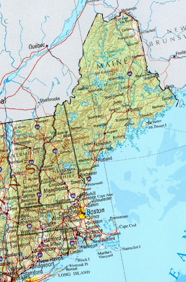 Mapa de Relieve Sombreado de Nueva Inglaterra, Estados Unidos
