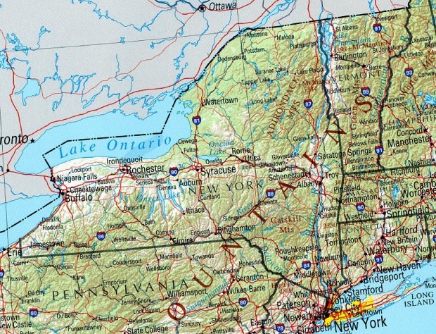 New York Shaded Relief Map, United States