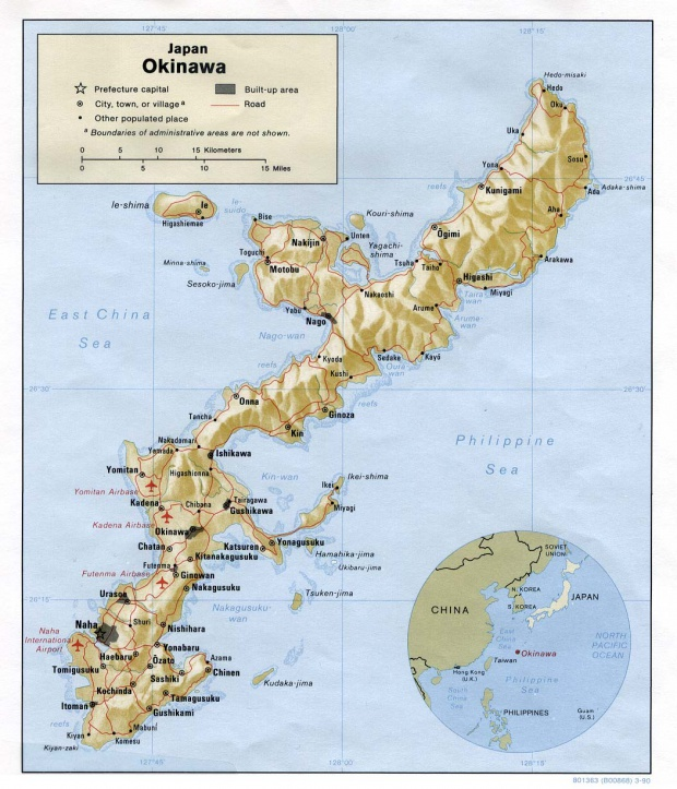 Mapa de Relieve Sombreado de Okinawa, Japón