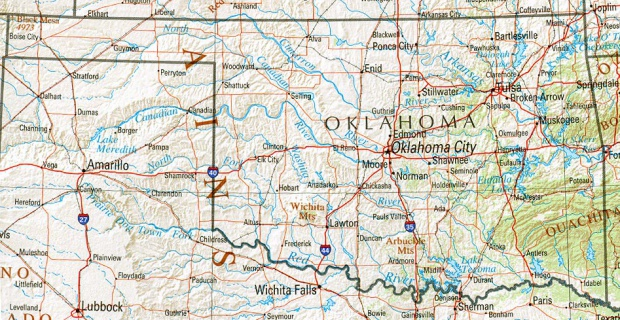 Mapa de Relieve Sombreado de Oklahoma, Estados Unidos