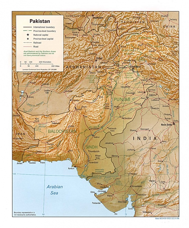 Pakistan Shaded Relief Map