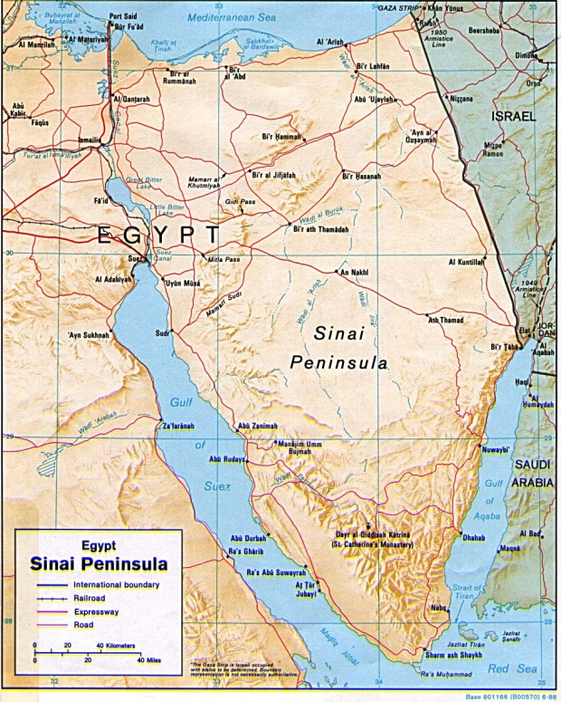 Sinai Peninsula Shaded Relief Map, Egypt