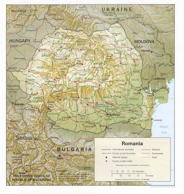 Mapa de Relieve Sombreado de Rumania