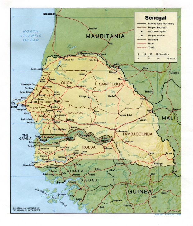 Mapa de Relieve Sombreado de Senegal