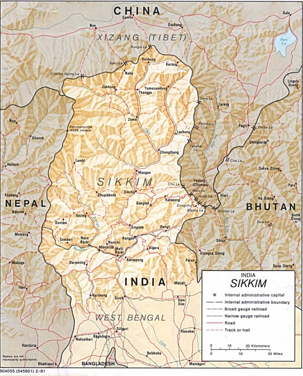 Mapa de Relieve Sombreado de Sikkim, India