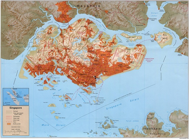 Mapa de Relieve Sombreado de Singapur