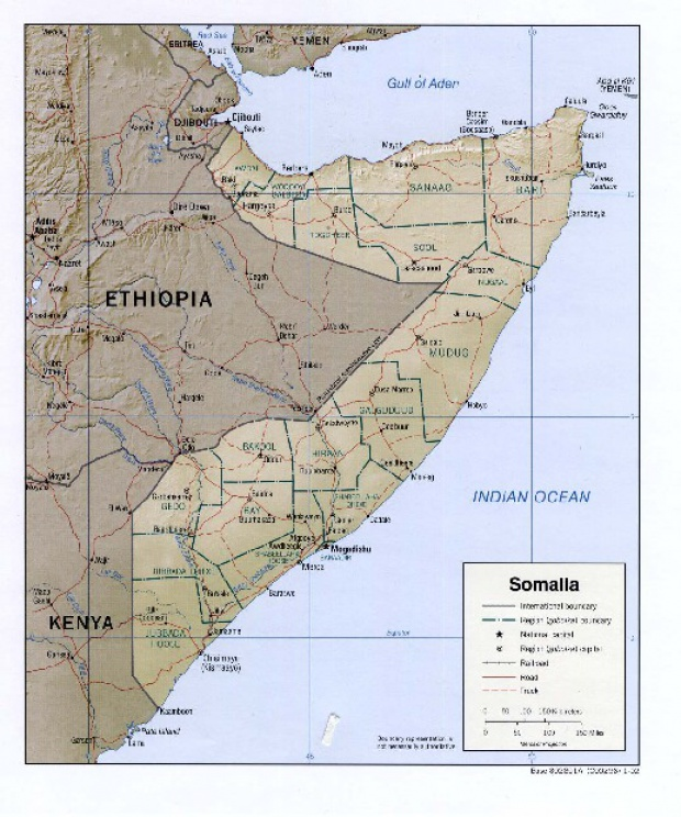 Somalia Shaded Relief Map
