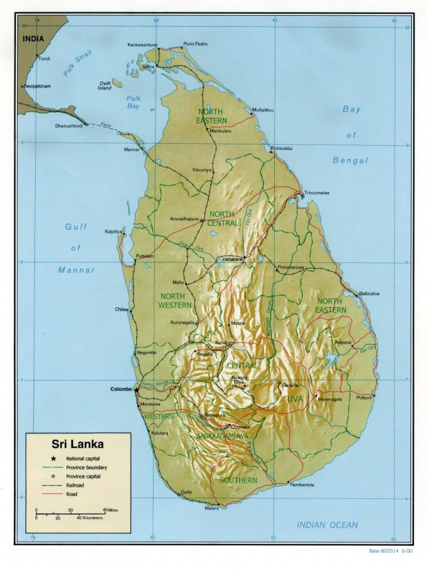 Mapa de Relieve Sombreado de Sri Lanka