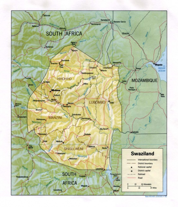 Swaziland Shaded Relief Map