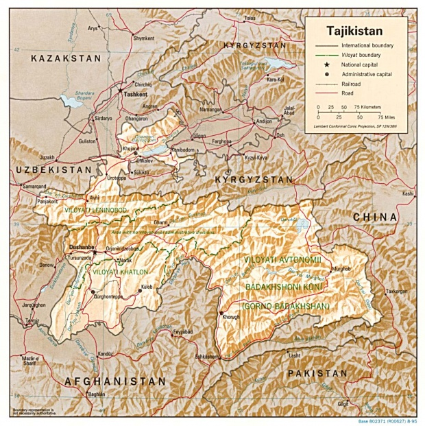 Tajikistan Shaded Relief Map