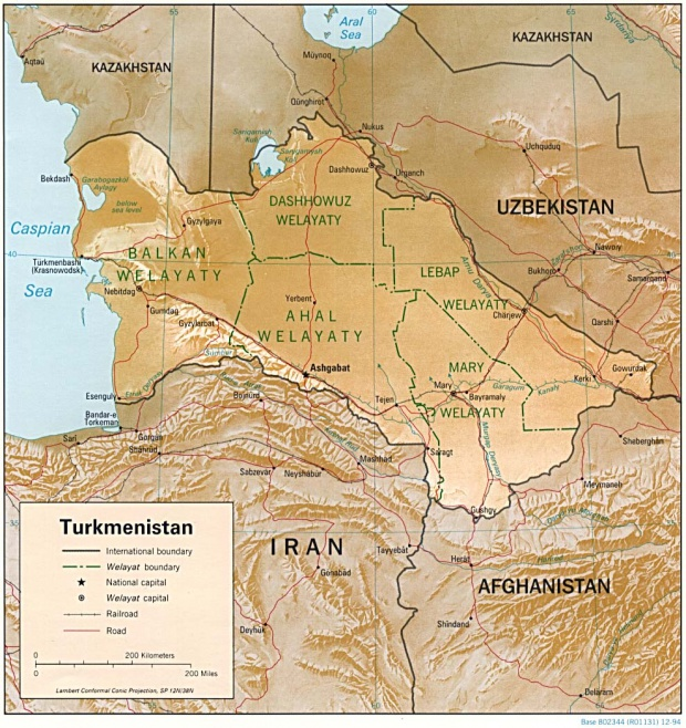 Turkmenistan Shaded Relief Map