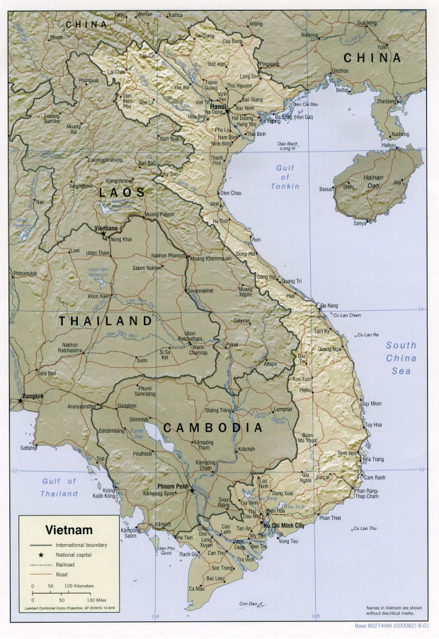 Vietnam Shaded Relief Map