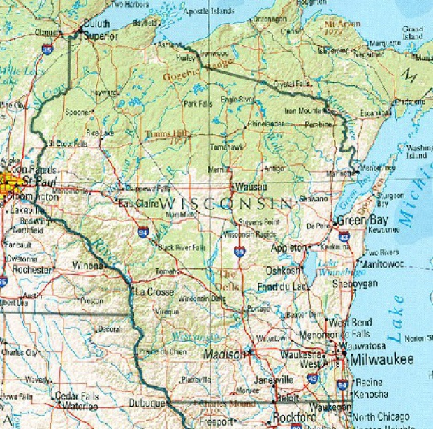 Mapa de Relieve Sombreado de Wisconsin, Estados Unidos