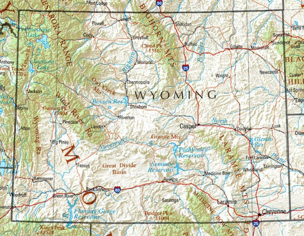 Mapa de Relieve Sombreado de Wyoming, Estados Unidos