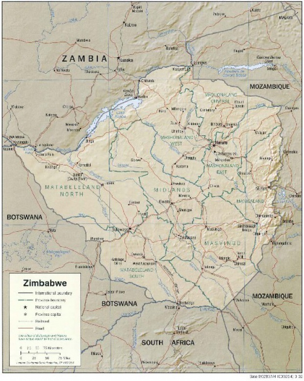 Mapa de Relieve Sombreado de Zimbabue