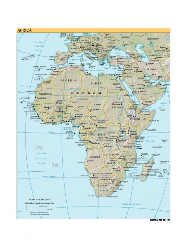 Africa Shaded Relief Map