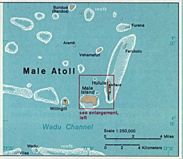 Male Atoll Shaded Relief Map, Maldives