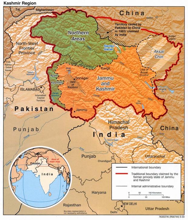 Kashmir Region Shaded Relief Map
