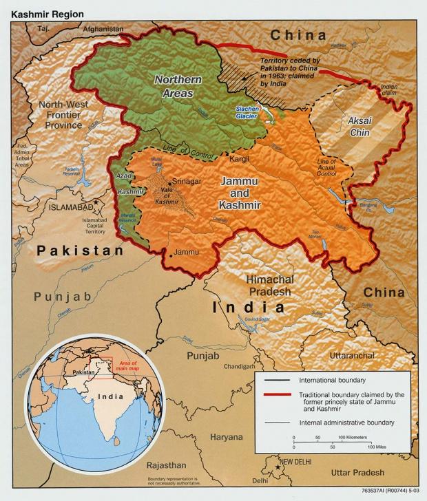 Mapa de Relieve Sombreado de la Región en Disputa de Cachemira