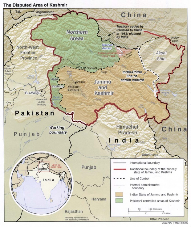 Shaded Relief Map of the Disputed Area of Kashmir 2002