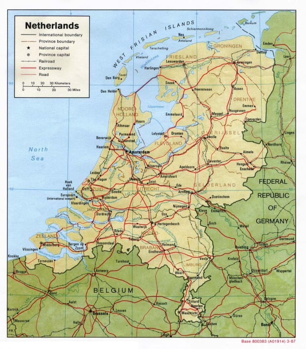 Netherlands Shaded Relief Map